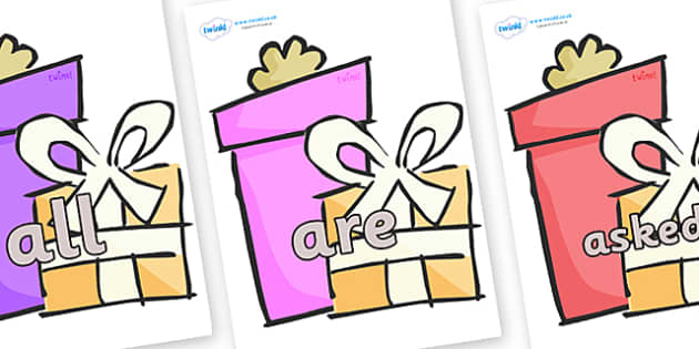 Tricky Words on Presents - Gifts - Tricky words, DfES Letters and Sounds, Letters and sounds, display, words