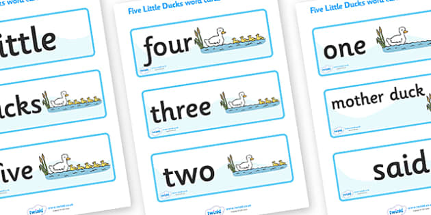 Five Little Ducks Word Cards - Five Little Ducks, nursery rhyme, rhyme,sequencing,  rhyming, numeracy, word cards, cards, flashcards, nursery rhyme story, nursery rhymes, counting