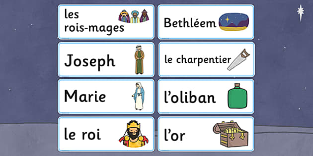 Nativity Topic Words French - french, christmas, topic, word cards, word, cards