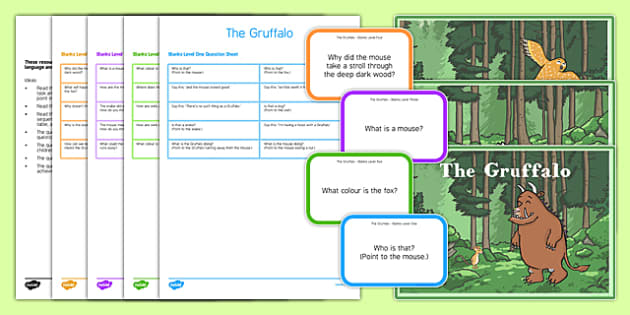 The Gruffalo with Blanks Levels Questions - receptive language, expressive language, verbal reasoning, language delay, language disorder, comprehension, autism, Language for Thinking