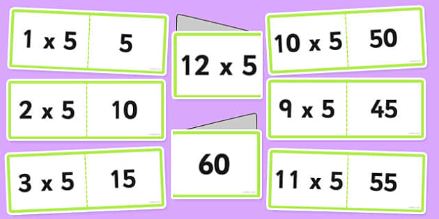 5 Times Table Cards - times table, times tables, cards, 5, fold, activity