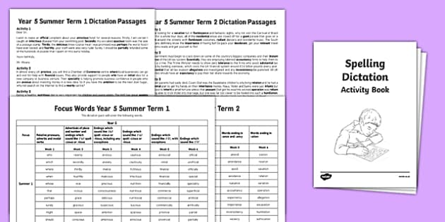Year 5 Summer Term Spelling Dictation Assessment Pack