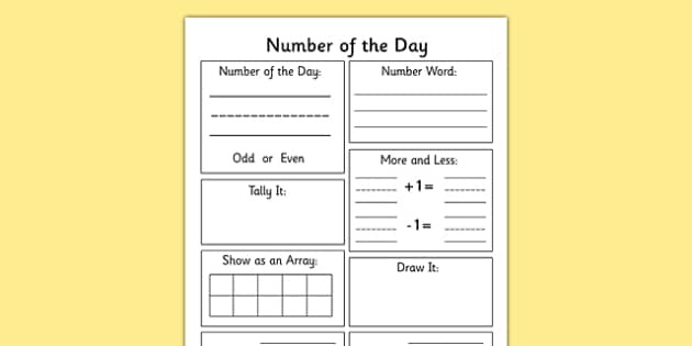 Number of the Day Worksheet - number display, maths, numeracy