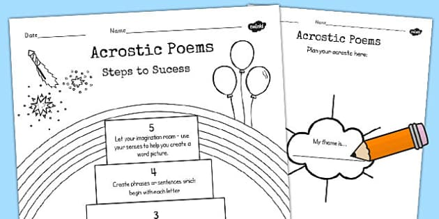 Recognise Some Different Forms Poetry Acrostics Planning Sheet -