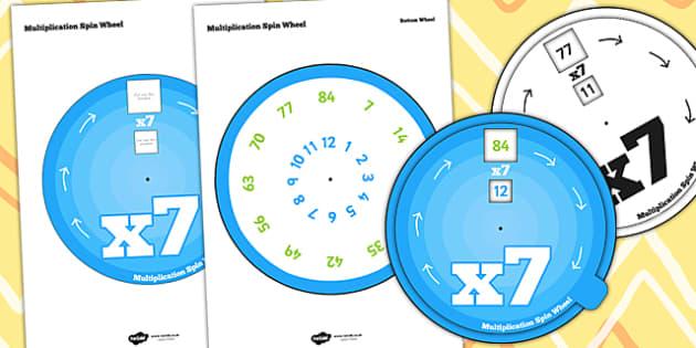 Multiplication Spin Wheel 7 - multiplication, wheel, 7 times