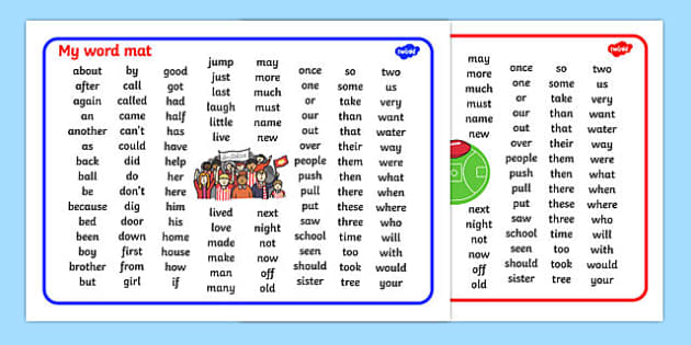 Australian Football League Themed KS1 Word Mats - visual aid