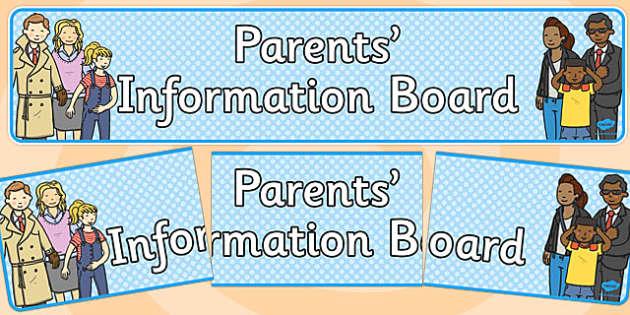 Parents Information Board Banner - display, parent, SLT, KS1, KS2, banner, header, title
