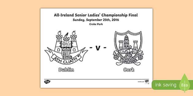 All Ireland Ladies' Championship Final Colouring Page-Irish