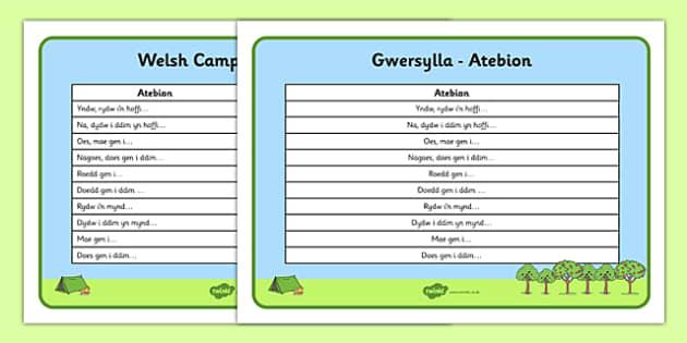 Welsh Camping Vocabulary Answers - welsh, cymraeg, Gwersylla, chwarae r