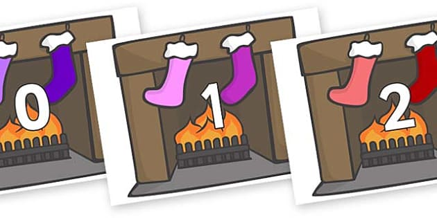 Numbers 0-31 on Fireplace & Stockings - 0-31, foundation stage numeracy, Number recognition, Number flashcards, counting, number frieze, Display numbers, number posters