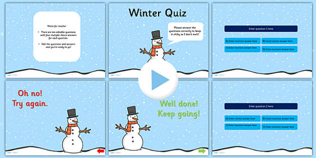 Winter Themed Editable PowerPoint Quiz - winter, winter quiz, winter powerpoint, quiz powerpoint, editable powerpoint, editable quiz, seasons, seasons quiz