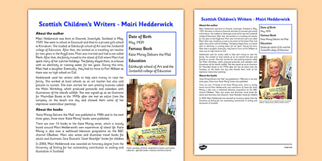 Scottish Children's Writers Mairi Hedderwick Information Sheet - CfE, Literacy, Scottish Children's Writers, Mairi Hedderwick, Katie Morag