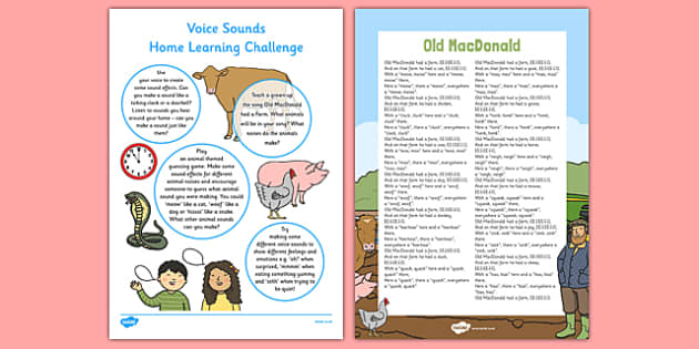 Voice Sounds EYFS Home Learning Challenge Sheet Nursery FS1 - EYFS planning, Early years activities, homework activities, phonics, Letters and Sounds, Phase 1, Aspect 6