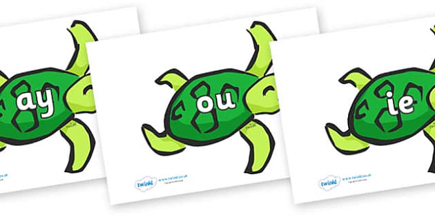 Phase 5 Phonemes on Turtles - Phonemes, phoneme, Phase 5, Phase five, Foundation, Literacy, Letters and Sounds, DfES, display