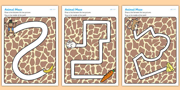 Animals Pencil Control Path Worksheets - animals, pencil control, fine motor skills, animal worksheet, pencil control worksheets, worksheets, pencil work