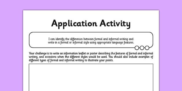 Y6 Formal and Informal Writing Application Activity - GPS, language, grammar, subjunctive