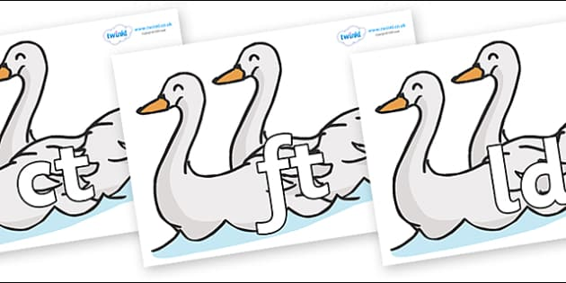 Final Letter Blends on Swans - Final Letters, final letter, letter blend, letter blends, consonant, consonants, digraph, trigraph, literacy, alphabet, letters, foundation stage literacy