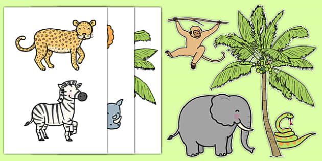 Jungle Themed Wall Decals - Jungle, Rainforest, poster, display, vines, A4, display, snake, forest, ecosystem, rain, humid, parrot, monkey, gorilla, rainforrest, rainforets, jungel
