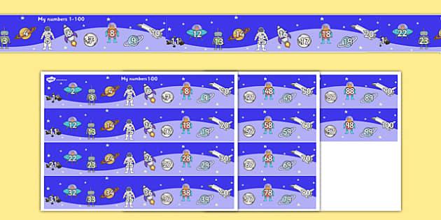 Space Themed Number Strip 1-100 - space, themed, number line, number strip, 1-100