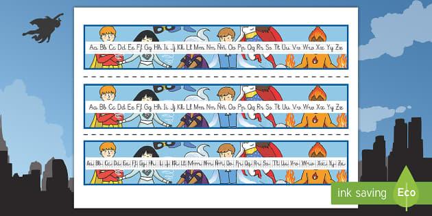 Los superhéroes Recta alfabética - Los superhéroes, proyecto, transcurricular, poderes, caligrafía, escritura, escribir, Spanish