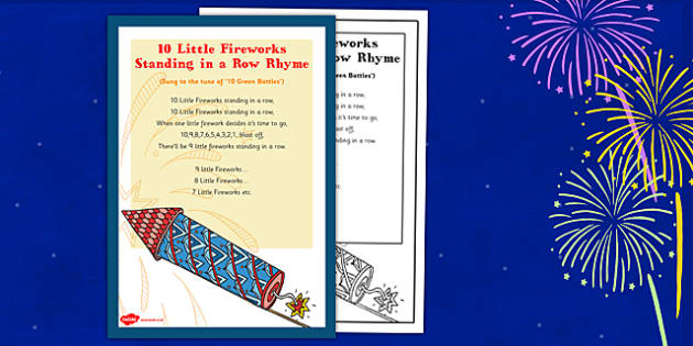 10 Little Fireworks Standing in a Row Rhyme - 10 little fireworks, standing, row, rhyme