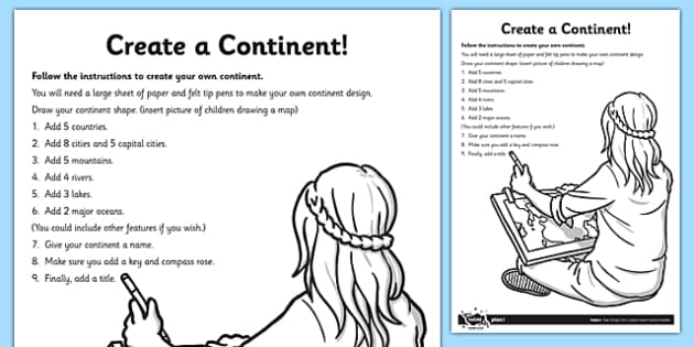 Create a Continent Activity Sheet - create, continent, activity, create a continent, worksheet