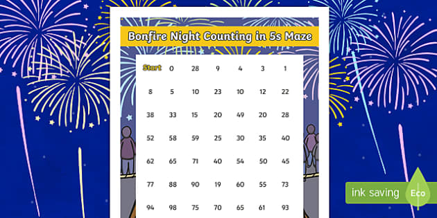 Bonfire Night Counting in 5s Maze Activity Sheet, worksheet