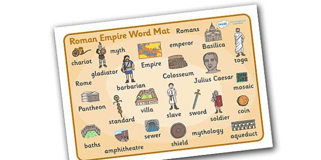 Roman Empire Word Mat - Romans, Rome, Roman Empire, colosseum, word mat, writing aid, mat, pantheon, Julius Caesar, emperor, gladiator, amphitheatre