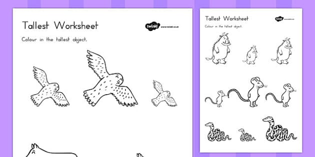 The Gruffalo Themed Tallest Object Worksheet - australia, gruffalo