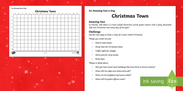 Amazing Fact a Day KS2 Countdown to Christmas Day 9 A Place Called Christmas Activity Sheet - Amazing Fact Of The Day, activity sheets, powerpoint, starter, morning activity, December, Christmas