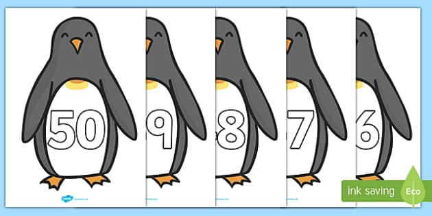 0-50 Penguins - 0-50, 50, numbers, display, penguins, number display, counting, maths, numeracy, mathematics