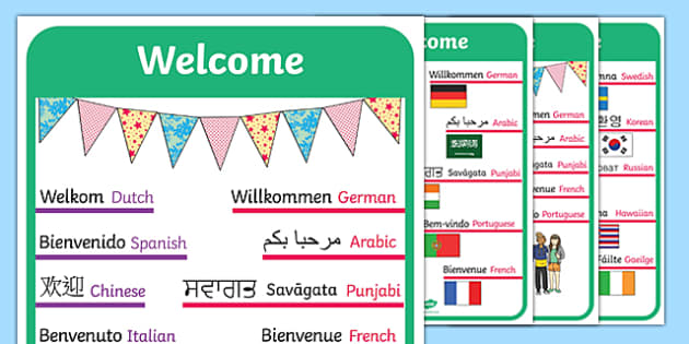 Mixed Language Welcome Signs - mixed, language, welcome signs, welcome, signs, display
