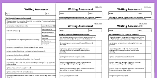 KS1 Exemplification Checklists - test, diagnostic, summative, formative