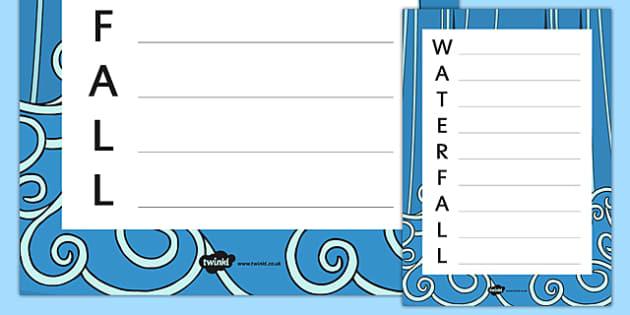 Waterfall Acrostic Poem Template - waterfall, acrostic poem, template, acrostic, poem, poetry