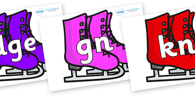 Silent Letters on Ice Skates - Silent Letters, silent letter, letter blend, consonant, consonants, digraph, trigraph, A-Z letters, literacy, alphabet, letters, alternative sounds