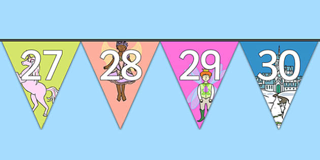 Magical Worlds Fantasy Themed Number Bunting 0-30 - magical worlds, fantasy, number, bunting, display, display bunting