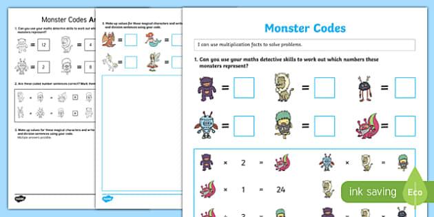 Monster Codes Activity Sheet Pack, worksheet