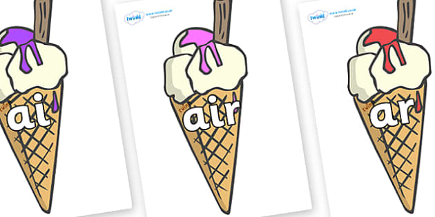 Phase 3 Phonemes on Ice Creams to Support Teaching on The Very Hungry Caterpillar - Phonemes, phoneme, Phase 3, Phase three, Foundation, Literacy, Letters and Sounds, DfES, display