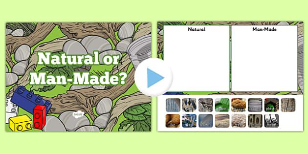 Natural or Man Made Materials Sorting Activity PowerPoint - materials, natural, man made, sorting, activity