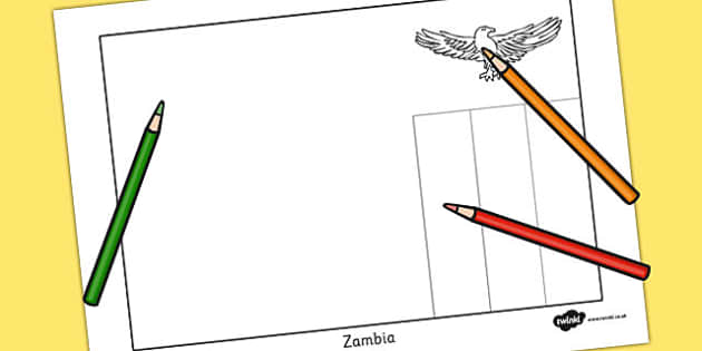 Zambia Flag Colouring Sheet - countries, geography, colour