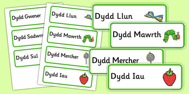 Days of the Week Word Cards (Welsh Translation) to Support Teaching on The Very Hungry Caterpillar