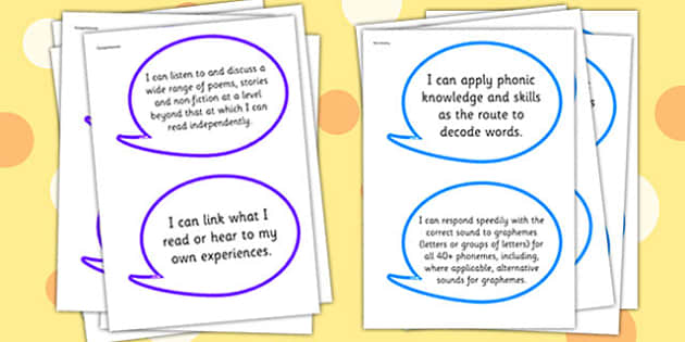 2014 Curriculum Y1 English Reading Assessment I Can Speech Bubbles