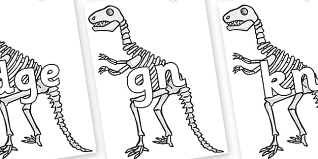Silent Letters on Dinosaur Skeletons - Silent Letters, silent letter, letter blend, consonant, consonants, digraph, trigraph, A-Z letters, literacy, alphabet, letters, alternative sounds