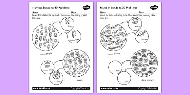 Number Bonds to 20 Problems Worksheet - numbers, bond, worksheet