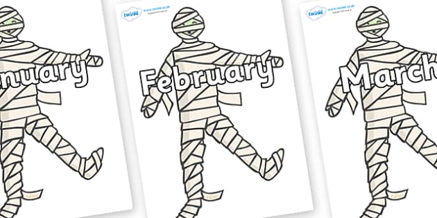 Months of the Year on Mummy (Plain) - Months of the Year, Months poster, Months display, display, poster, frieze, Months, month, January, February, March, April, May, June, July, August, September
