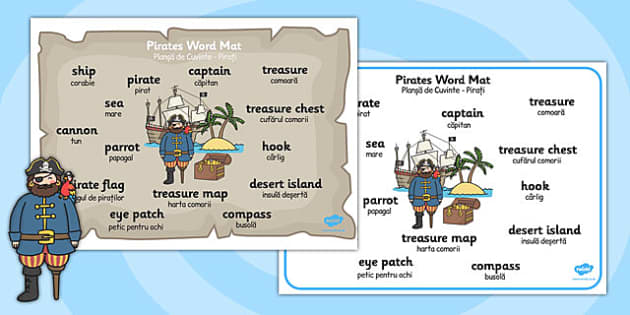 Pirate Word Mat Romanian Translation - romanian, pirate, word mat