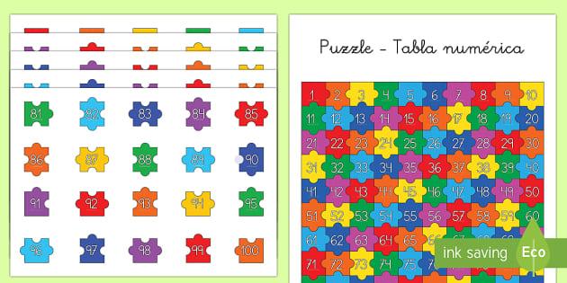 Puzzle de secuenciar números - La tabla numérica