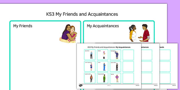 KS3 My Friends and Acquaintances Sorting Activity - ks3, my friends, acquaintances, sorting, activity