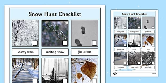 Winter Snow Hunt Checklist - winter, snow, hunt, winter hunt, snow hunt, hunt checklist, winter checklist, snow checklist, seasons, sensory walks, senses