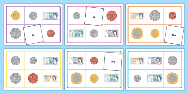Notes and Coins Bingo - Measurement, bingo, coin lotto, note lotto, coin value, note value, british coins, maths game, money